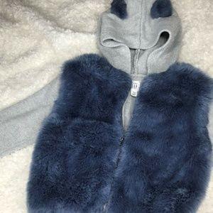 BABY GAP Toddler Faux Fur Sweater Hoodie Size 4